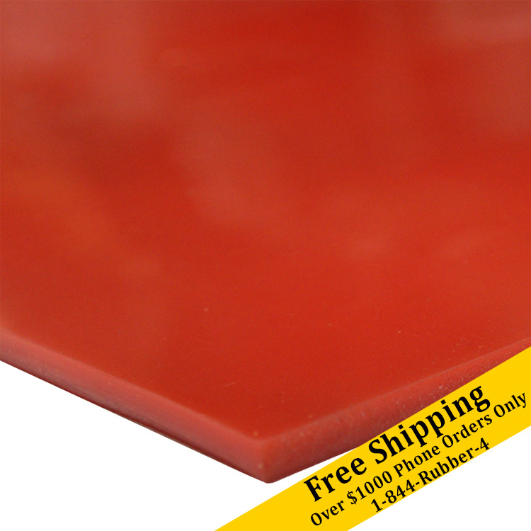 """Silicone Rubber Pad 4 x 8 x 1//4 Thick Sheet High Temp Solid Red//Orange 4/"""" x 8/"""""""